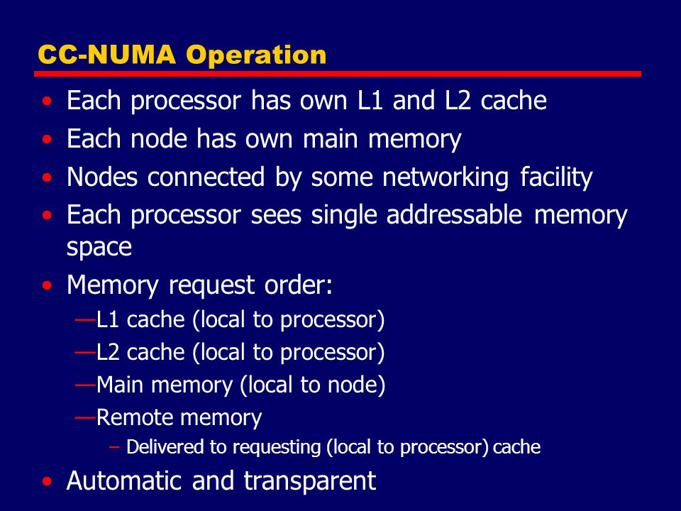 Each processor has own L1 and L2 cache Each node has own main memory