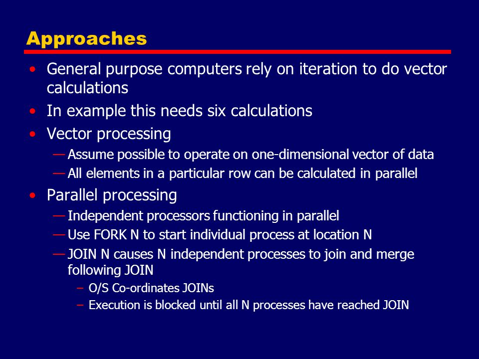 Approaches General purpose computers rely on iteration to do vector calculations. In example this needs six calculations.