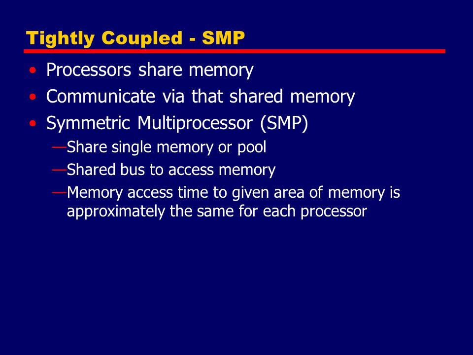 Processors share memory Communicate via that shared memory