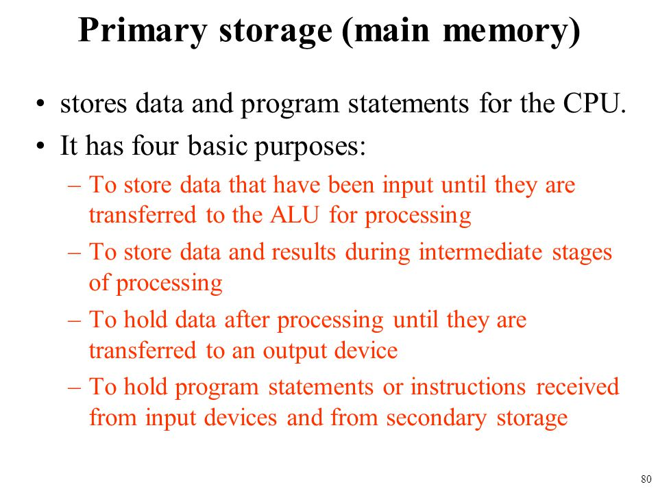 Primary storage (main memory)