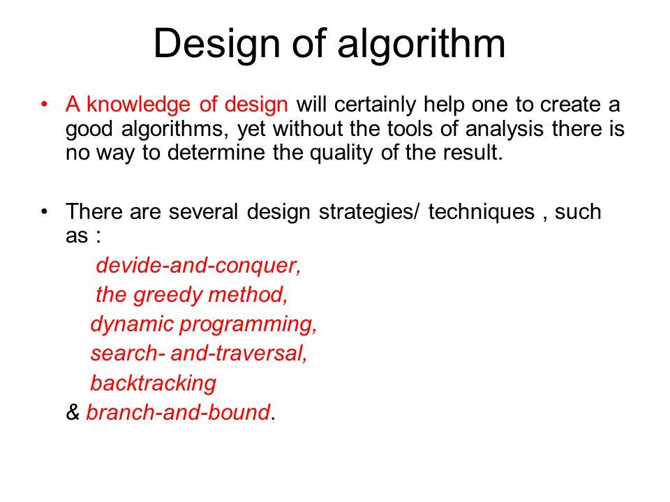 Design of algorithm