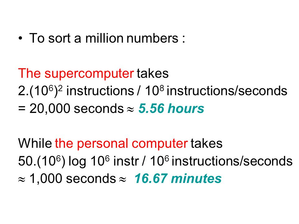 To sort a million numbers :