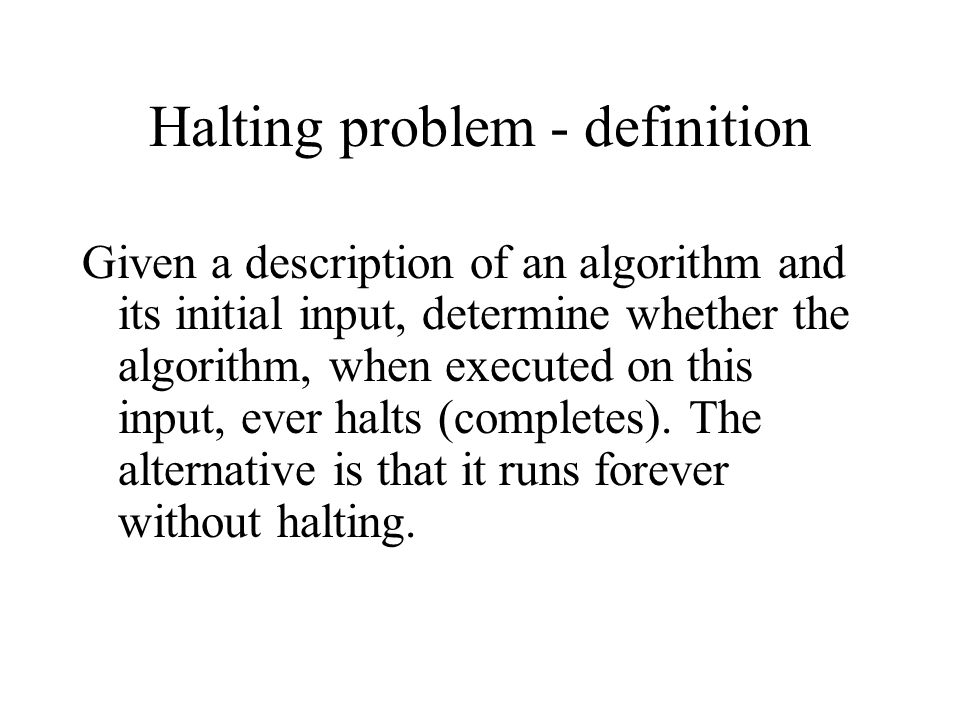 Halting problem - definition