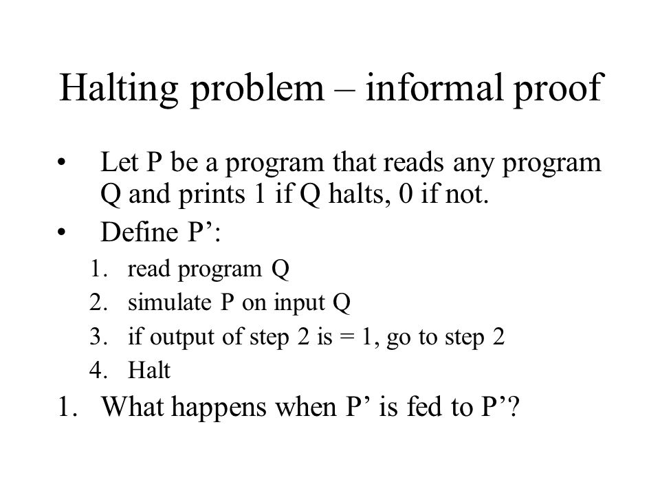 Halting problem – informal proof