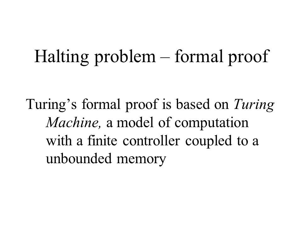 Halting problem – formal proof