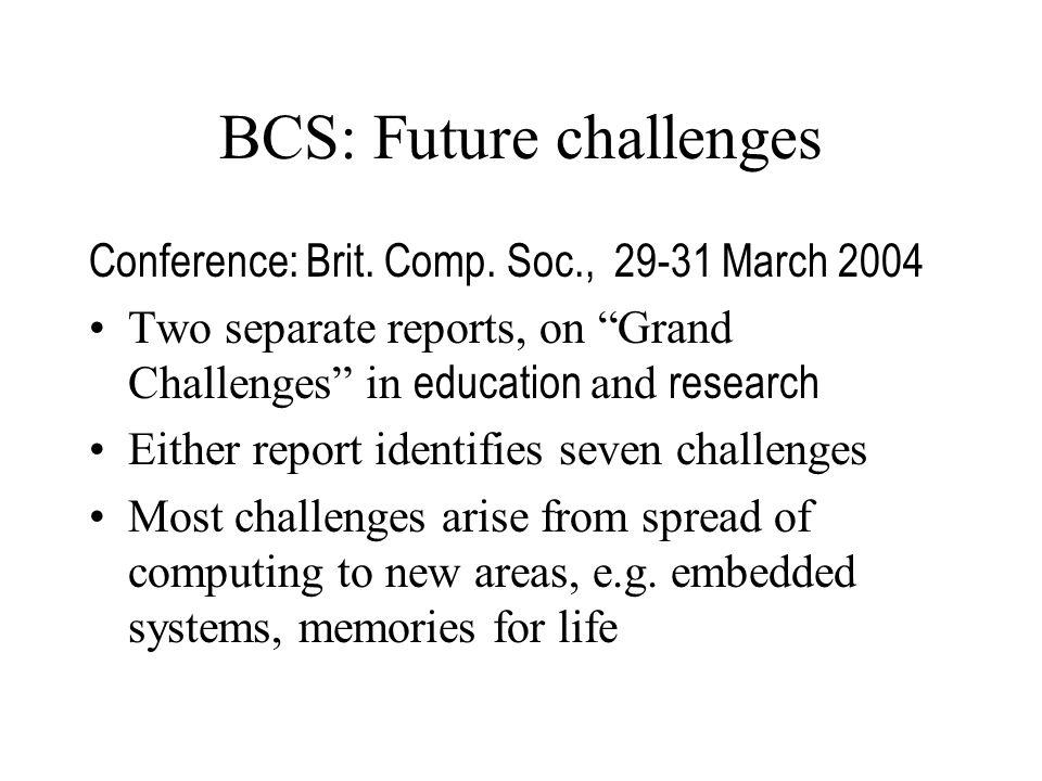 BCS: Future challenges