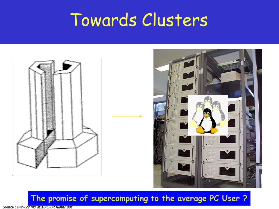 Towards Clusters The promise of supercomputing to the average PC User 3