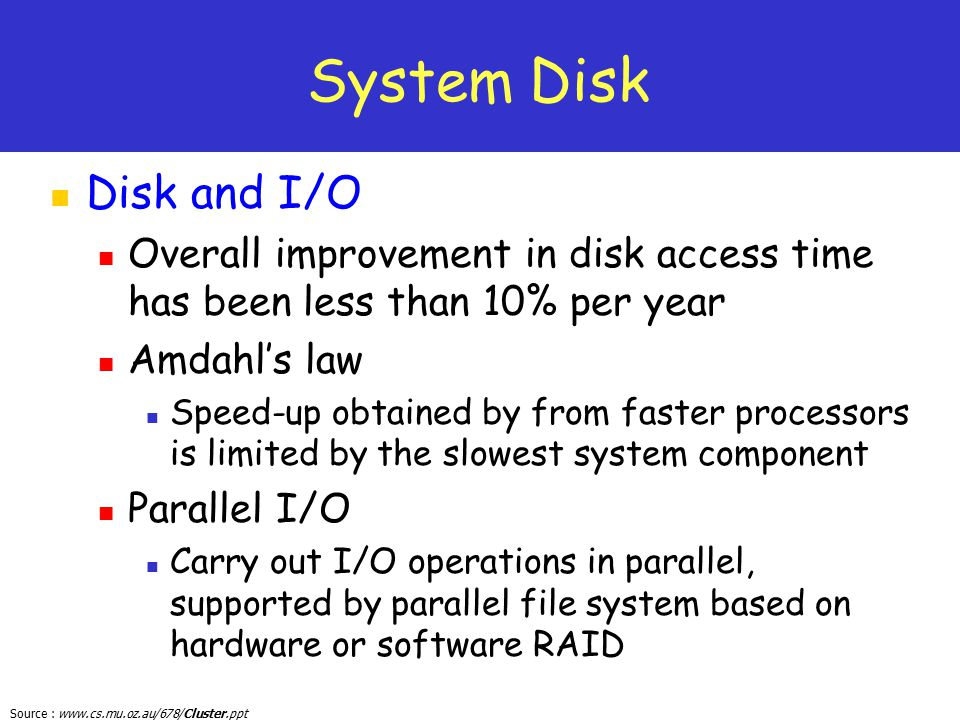 System Disk Disk and I/O