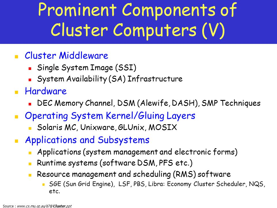 Prominent Components of Cluster Computers (V)