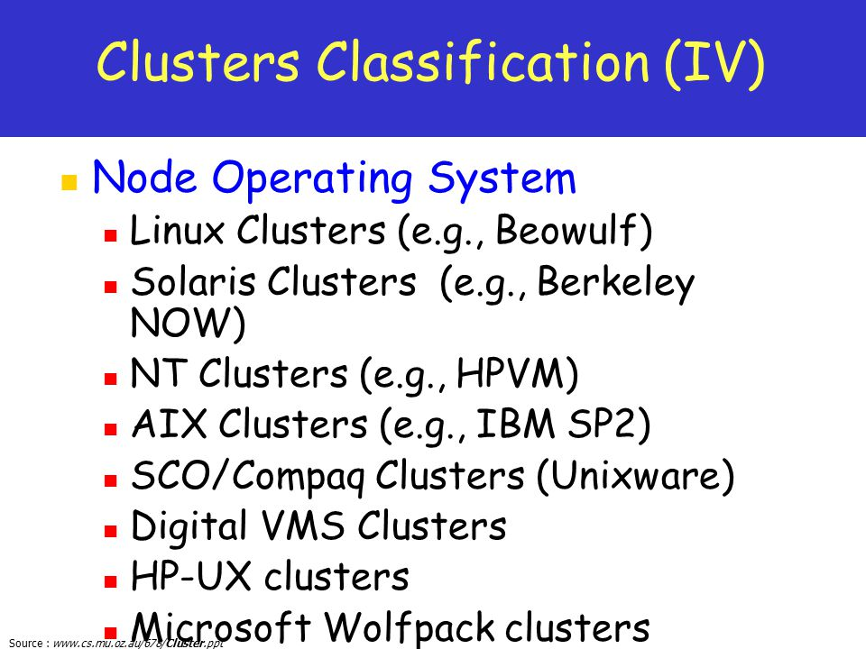Clusters Classification (IV)