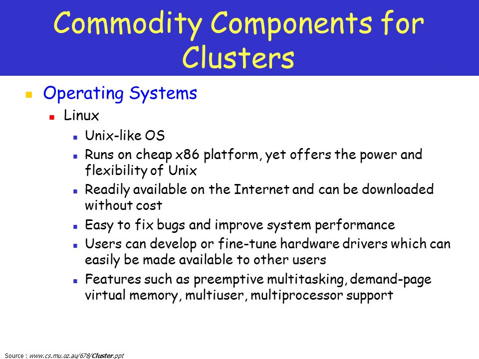 Commodity Components for Clusters