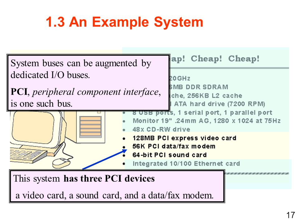 1.3 An Example System System buses can be augmented by dedicated I/O buses. PCI, peripheral component interface, is one such bus.