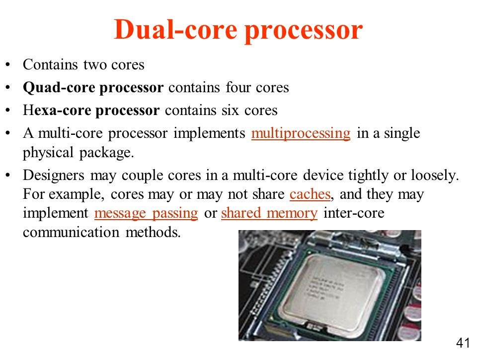 Dual-core processor Contains two cores