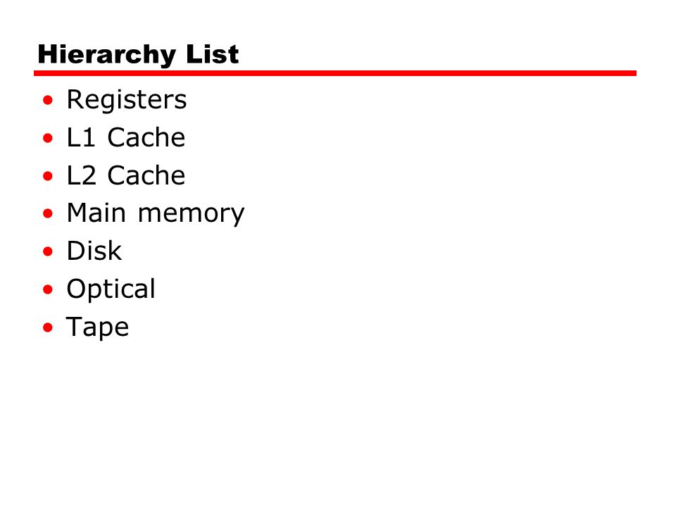 Hierarchy List Registers L1 Cache L2 Cache Main memory Disk Optical Tape