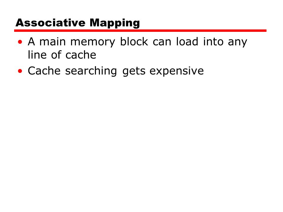 Associative Mapping A main memory block can load into any line of cache.