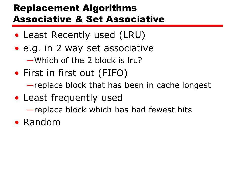 Replacement Algorithms Associative & Set Associative