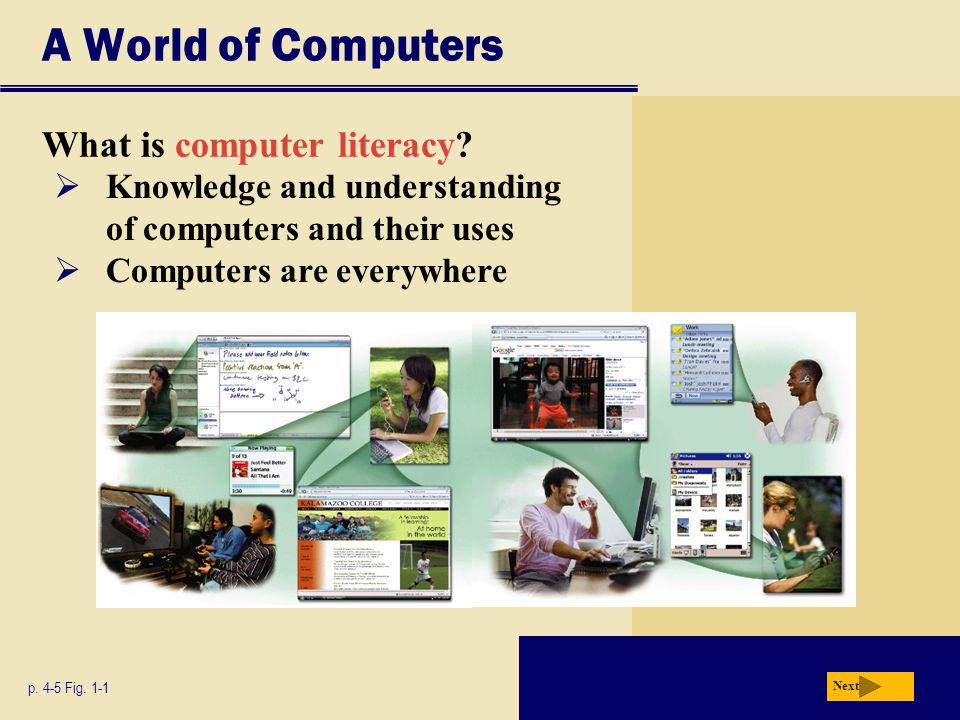 A World of Computers What is computer literacy