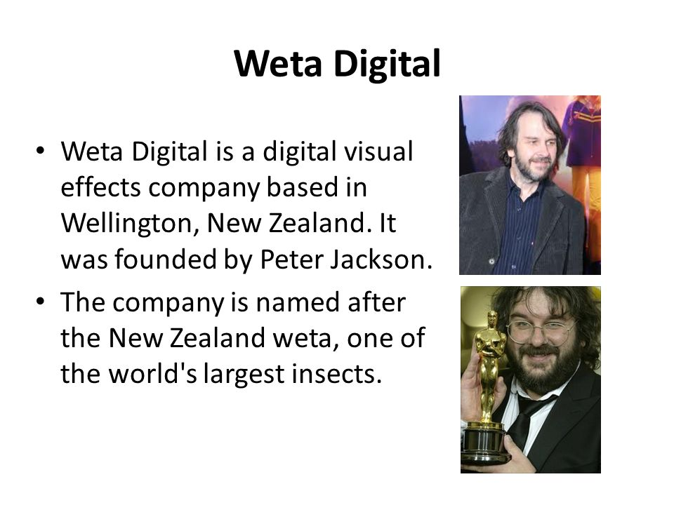 Weta Digital Weta Digital is a digital visual effects company based in Wellington, New Zealand. It was founded by Peter Jackson.