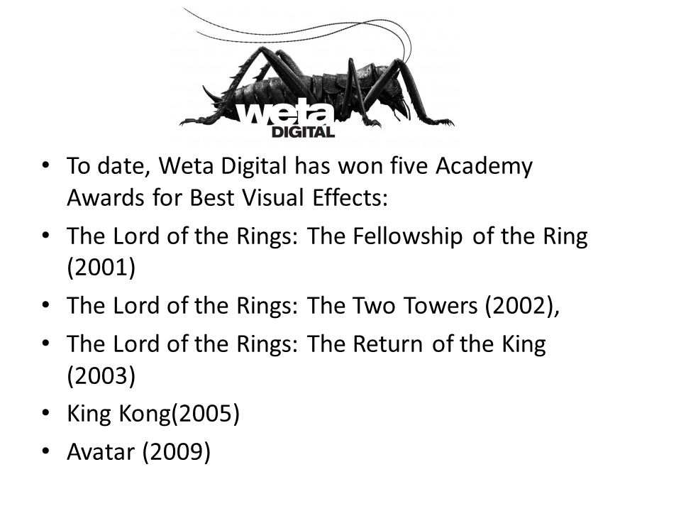 To date, Weta Digital has won five Academy Awards for Best Visual Effects: