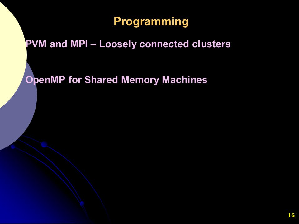Programming PVM and MPI – Loosely connected clusters