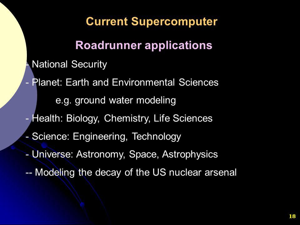 Current Supercomputer Roadrunner applications
