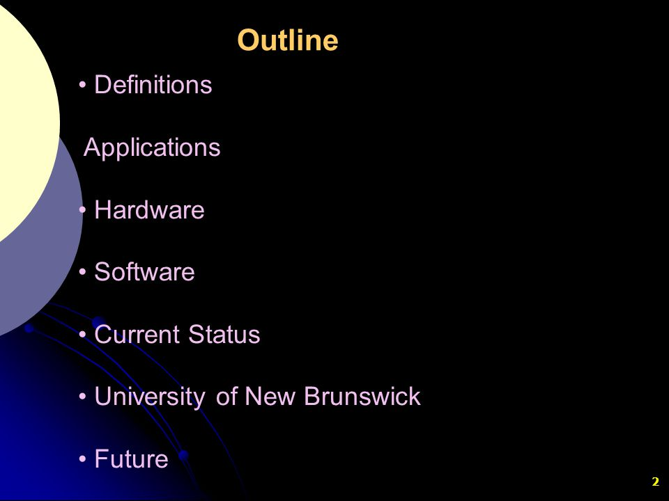 Outline Definitions Applications Hardware Software Current Status