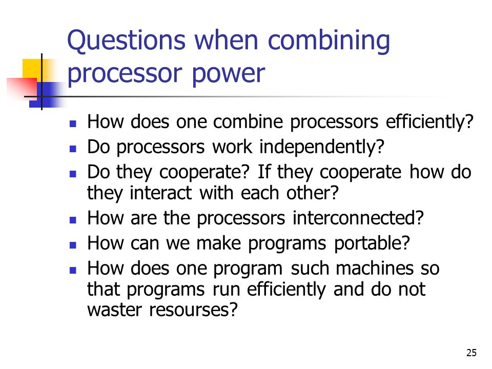 Questions when combining processor power