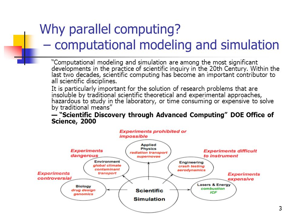 Why parallel computing – computational modeling and simulation