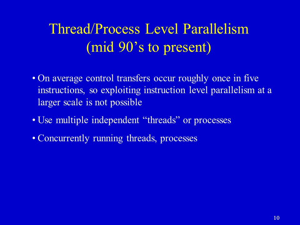 Thread/Process Level Parallelism (mid 90's to present)