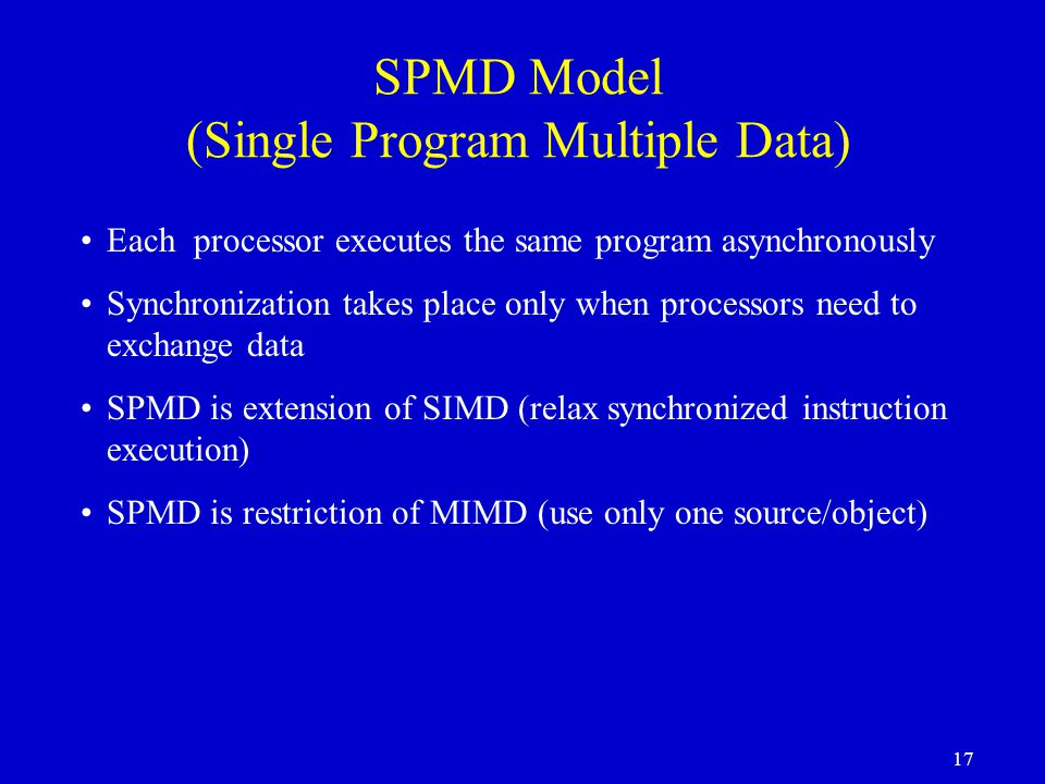 SPMD Model (Single Program Multiple Data)