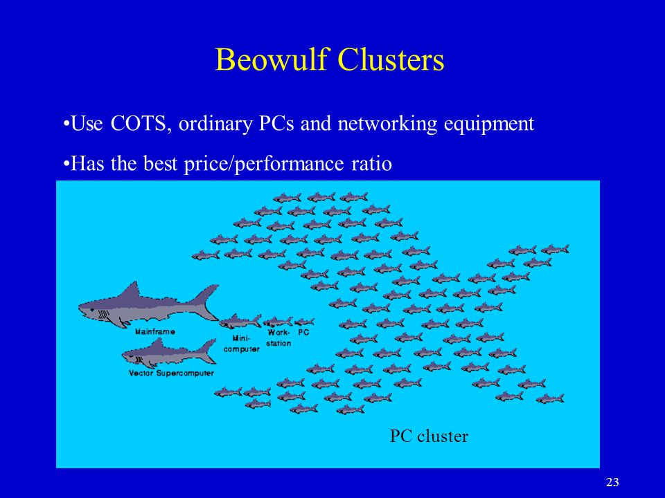 Beowulf Clusters Use COTS, ordinary PCs and networking equipment