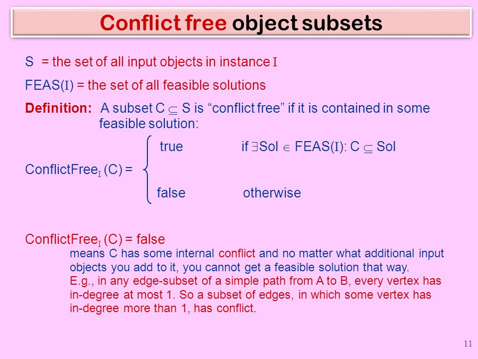 Conflict free object subsets
