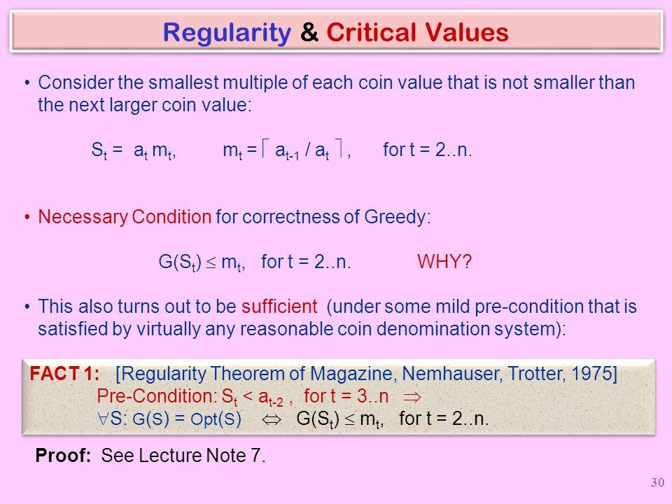 Regularity & Critical Values
