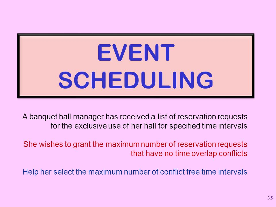EVENT SCHEDULING A banquet hall manager has received a list of reservation requests. for the exclusive use of her hall for specified time intervals.