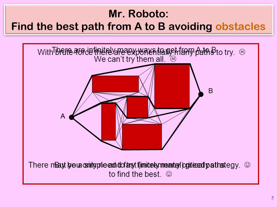 Mr. Roboto: Find the best path from A to B avoiding obstacles