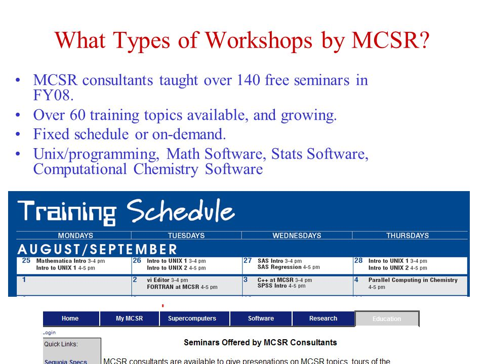 What Types of Workshops by MCSR