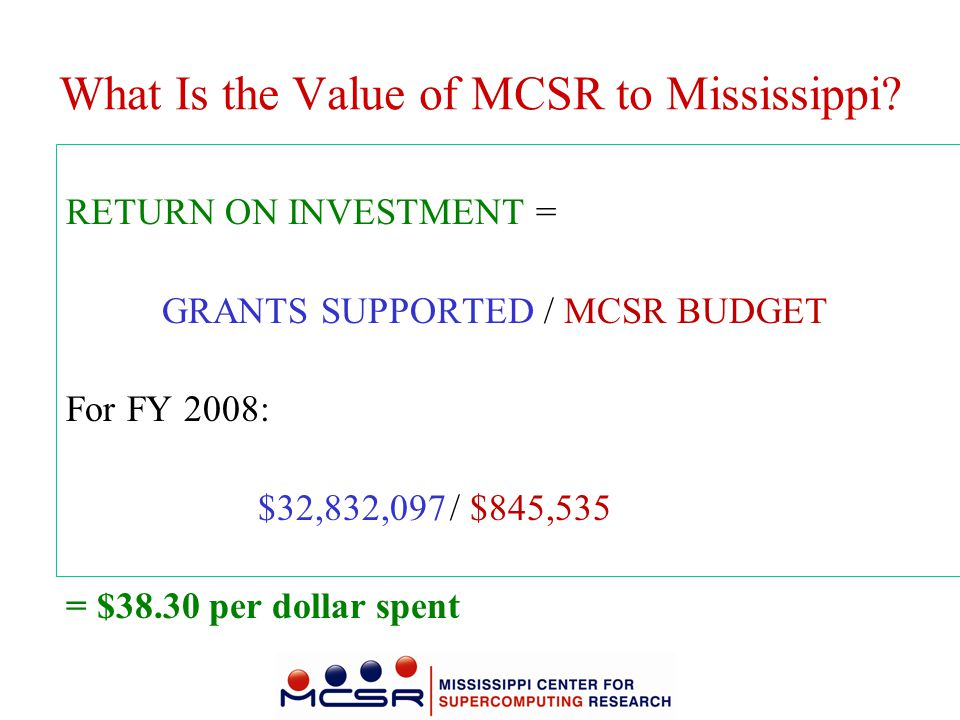 What Is the Value of MCSR to Mississippi