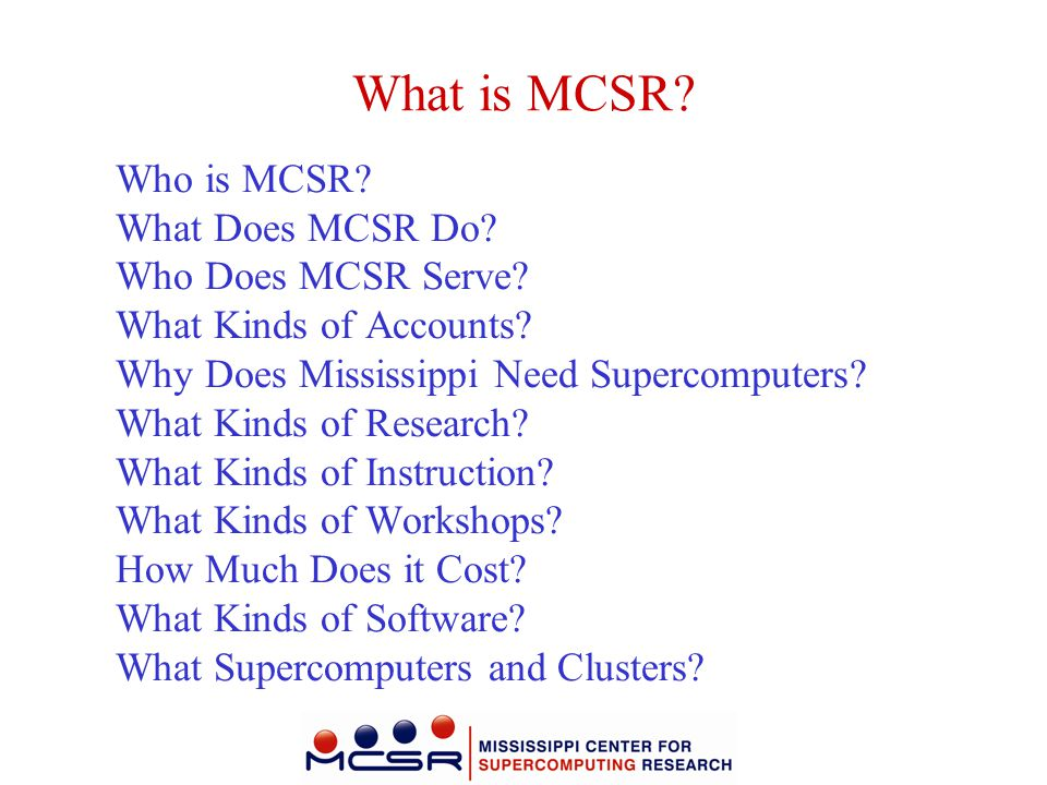 What is MCSR Who is MCSR What Does MCSR Do Who Does MCSR Serve