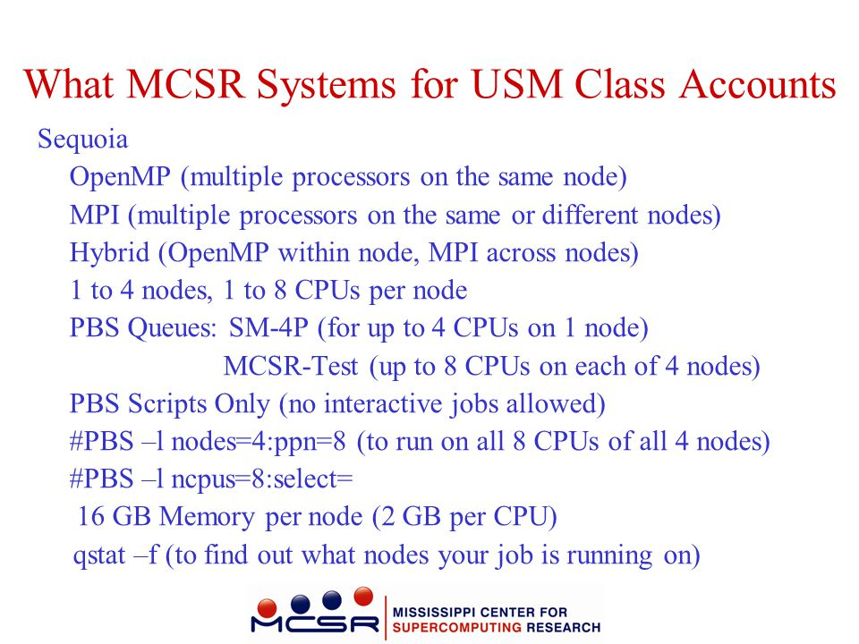 What MCSR Systems for USM Class Accounts
