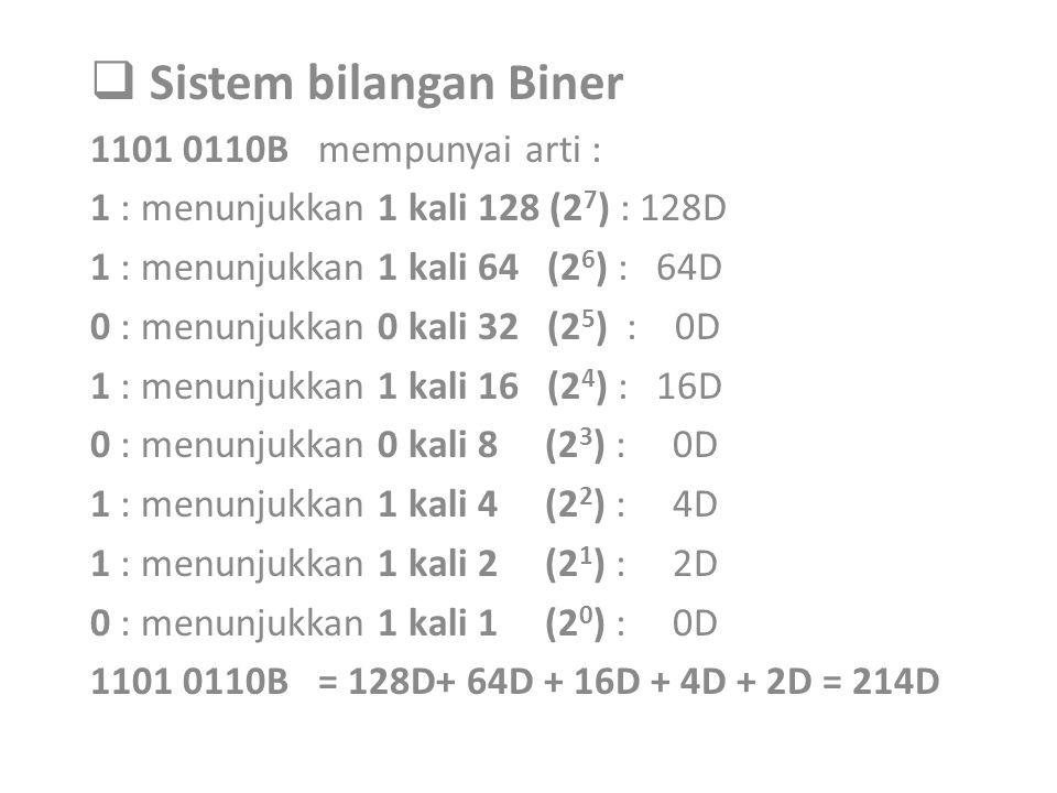 Sistem bilangan Biner 1101 0110B mempunyai arti :