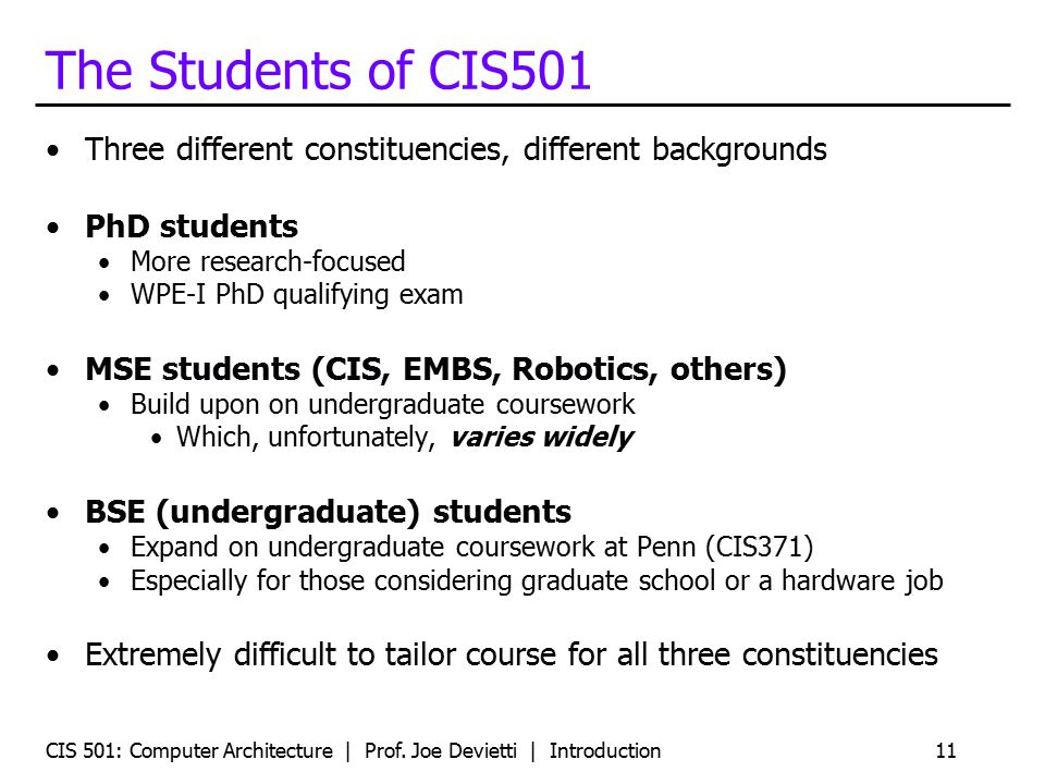 The Students of CIS501 Three different constituencies, different backgrounds. PhD students. More research-focused.