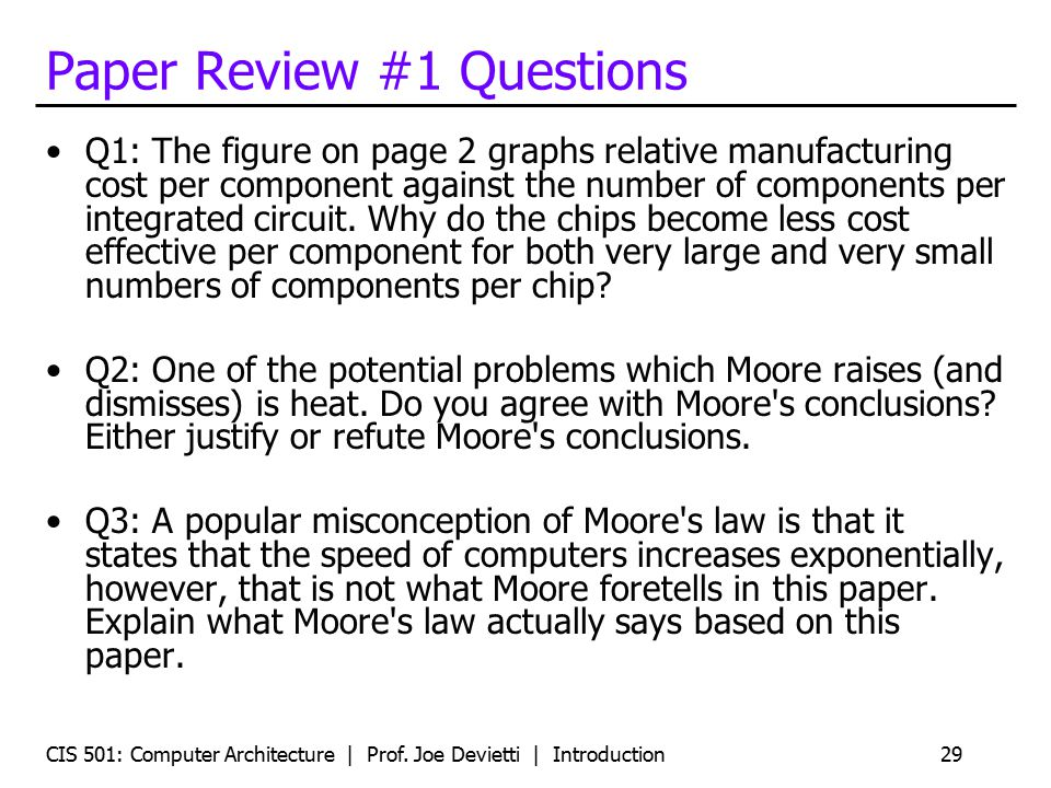 Paper Review #1 Questions