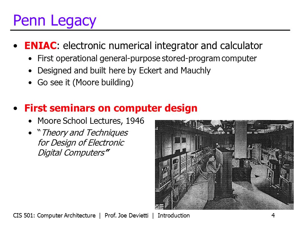 Penn Legacy ENIAC: electronic numerical integrator and calculator