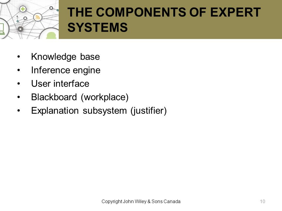 THE COMPONENTS OF EXPERT SYSTEMS