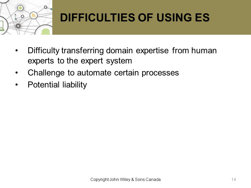 DIFFICULTIES OF USING ES