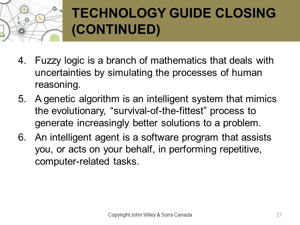 TECHNOLOGY GUIDE CLOSING (CONTINUED)