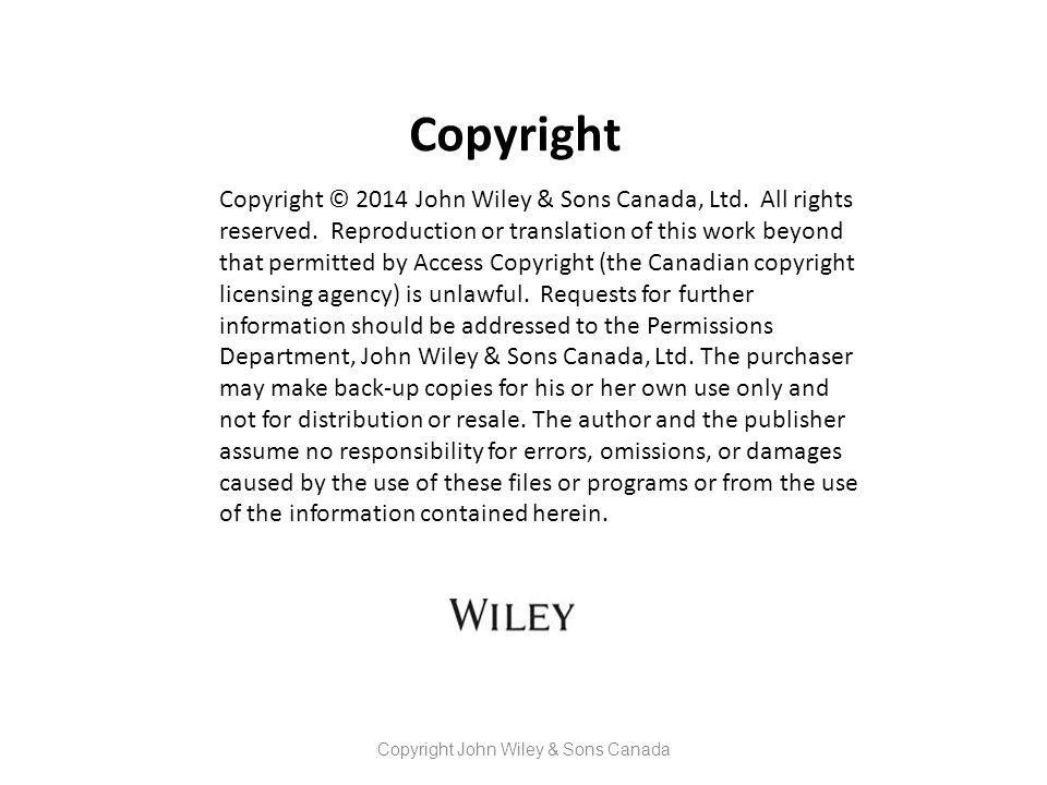 Copyright John Wiley & Sons Canada