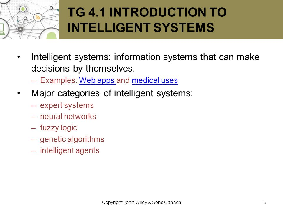 TG 4.1 INTRODUCTION TO INTELLIGENT SYSTEMS