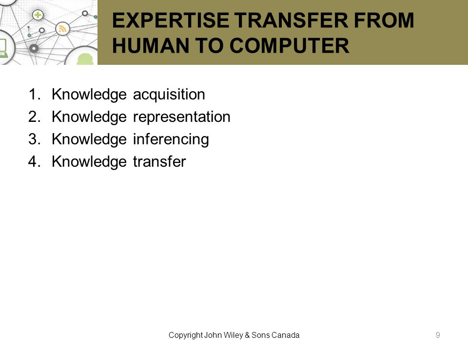 EXPERTISE TRANSFER FROM HUMAN TO COMPUTER