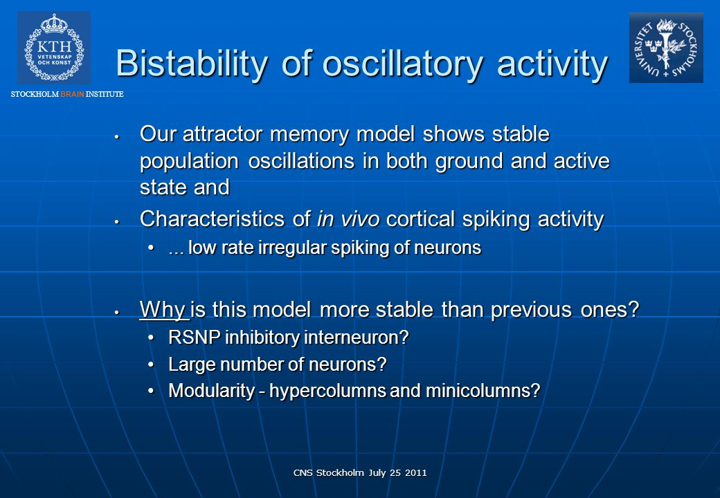 Bistability of oscillatory activity